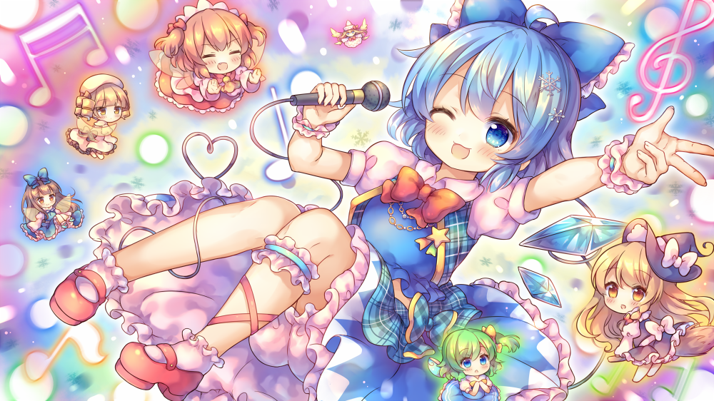 6+girls :d :o ;d ahoge bangs beamed_sixteenth_notes beret black_dress black_headwear blonde_hair bloomers blue_bow blue_dress blue_eyes blue_hair blush bobby_socks bow broom broom_riding brown_hair chibi cirno closed_eyes collared_shirt commentary_request daiyousei dress drill_hair eighth_note eyebrows_visible_through_hair fairy_wings fang fingernails frilled_bow frills green_hair hair_between_eyes hair_bow hair_ornament hat hat_bow heart holding holding_microphone ice ice_wings juliet_sleeves kirisame_marisa lily_white long_sleeves luna_child mary_janes microphone minigirl multiple_girls musical_note one_eye_closed one_side_up open_mouth pantyhose parted_lips pjrmhm_coa plaid plaid_bow puffy_short_sleeves puffy_sleeves quarter_note red_bow red_footwear red_skirt red_vest shirt shoes short_sleeves skirt sleeveless sleeveless_dress smile snowflake_hair_ornament socks star_sapphire sunny_milk touhou transparent_wings treble_clef two_side_up underwear vest w white_bloomers white_bow white_dress white_headwear white_legwear white_shirt wings witch_hat wrist_cuffs yellow_bow