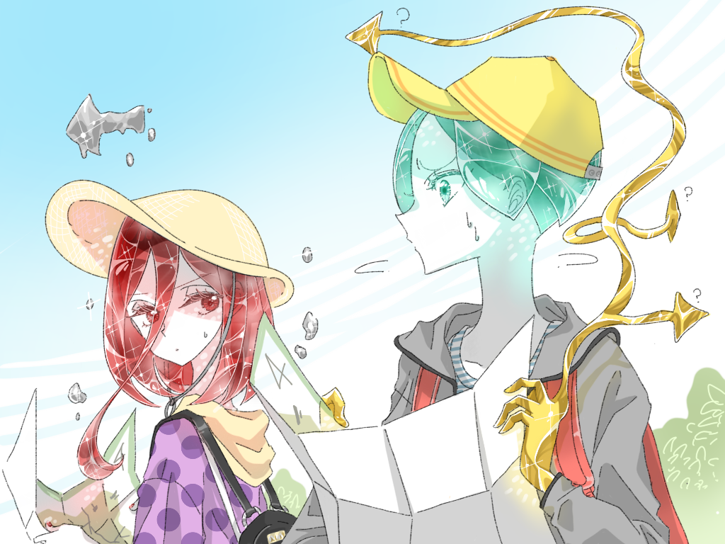 2others ? alternate_costume androgynous backpack bag blue_sky colored_eyelashes contemporary crystal_hair easty gold golden_arms green_eyes green_hair hair_between_eyes hat hood hooded_jacket houseki_no_kuni jacket long_bangs map mercury multiple_others outdoors phosphophyllite red_eyes redhead scarf shinsha_(houseki_no_kuni) short_hair sky sweat upper_body white_skin