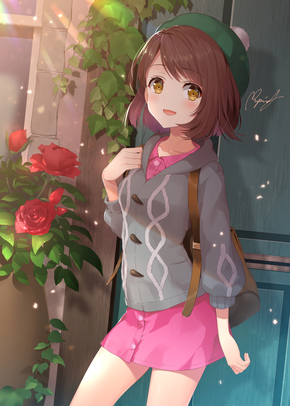 1girl backpack bag blush brown_eyes brown_hair cardigan cowboy_shot creatures_(company) door dress female_protagonist_(pokemon_swsh) flower game_freak happy hat highres light_particles light_rays looking_at_viewer nintendo open_mouth outdoors pink_dress plant pokemon pokemon_(game) pokemon_swsh rose rupinesu short_hair signature solo sunlight tam_o'_shanter vines