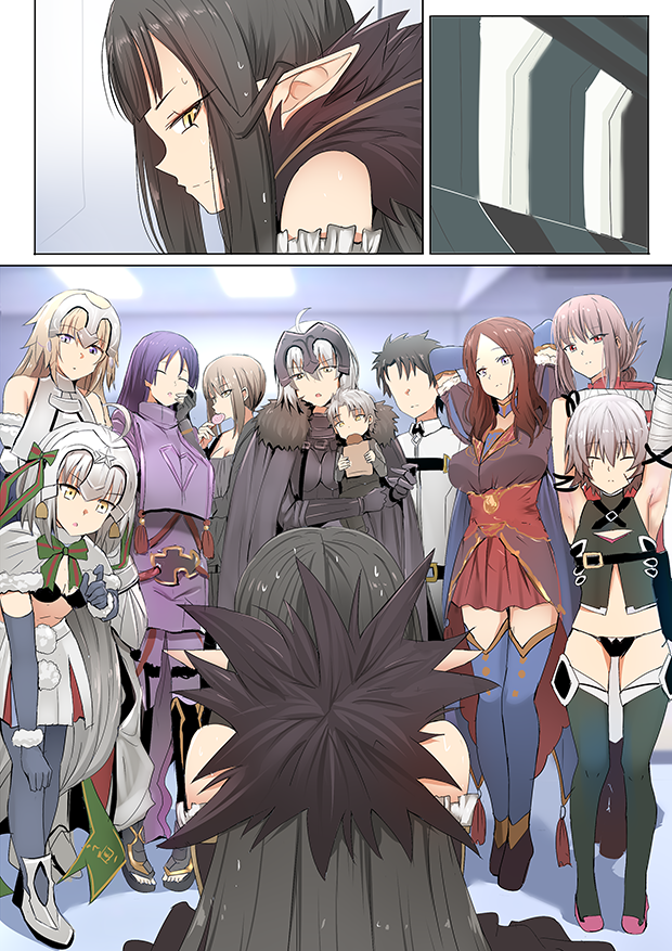 ahoge artoria_pendragon_(all) black_panties blue_eyes breasts candy chaldea_uniform closed_eyes comic eating faceless faceless_male fate/grand_order fate_(series) father_and_son florence_nightingale_(fate/grand_order) food fujimaru_ritsuka_(male) fur_trim ginhaha jack_the_ripper_(fate/apocrypha) jeanne_d'arc_(alter)_(fate) jeanne_d'arc_(fate) jeanne_d'arc_(fate)_(all) jeanne_d'arc_alter_santa_lily large_breasts leonardo_da_vinci_(fate/grand_order) lollipop long_hair minamoto_no_raikou_(fate/grand_order) mother_and_son outstretched_arm panties pointy_ears ponytail red_eyes saber_alter scar semiramis_(fate) short_hair silent_comic small_breasts sweat thigh-highs underwear yellow_eyes