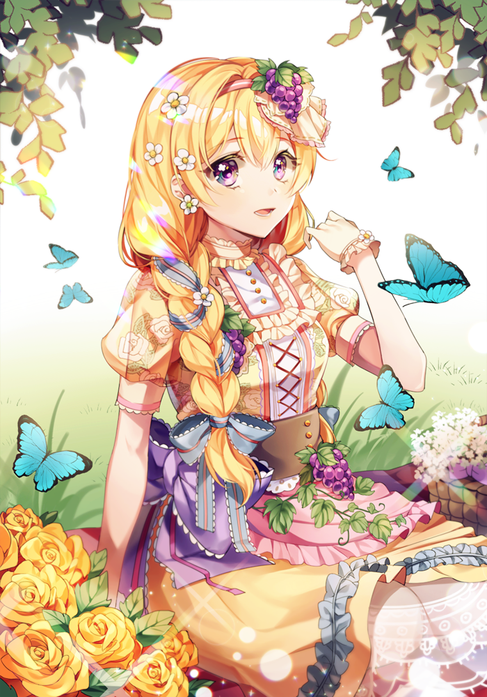 bang_dream! bangs blonde_hair braid bug butterfly eyebrows_visible_through_hair flower food food_on_head fruit_on_head gloves grass hair_flower hair_ornament insect long_hair minori_(faddy) object_on_head open_mouth rose shirasagi_chisato violet_eyes white_background