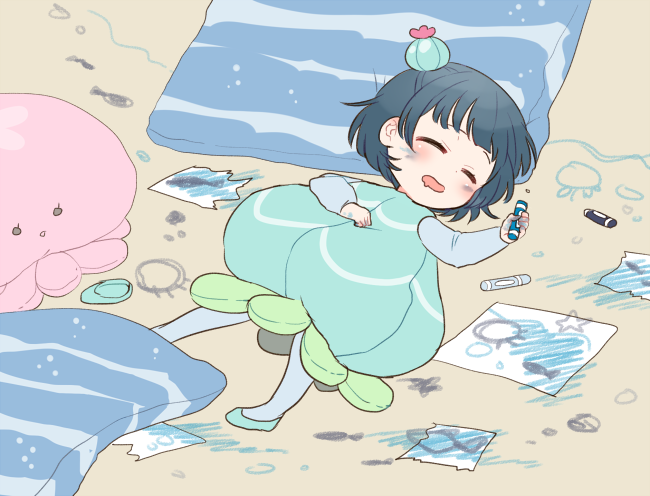 1girl aqua_dress aqua_footwear beige_background blue_hair blue_legwear blush bun_cover child child_drawing closed_eyes commentary_request crayon dress drooling face_painting hand_on_own_chest holding_crayon izumi_kirifu jellyfish_costume love_live! love_live!_sunshine!! lying on_back on_floor pantyhose paper shoe_removed short_hair sleeping solo stuffed_jellyfish tsushima_yoshiko younger