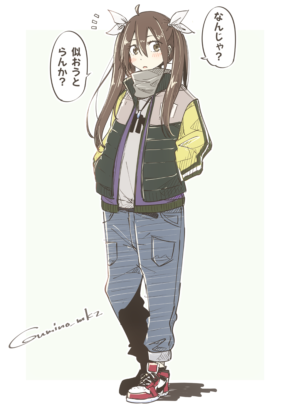 1girl ahoge alternate_costume blush brown_eyes brown_hair commentary_request denim full_body green_jacket grey_scarf grey_shirt hair_between_eyes hair_ribbon hands_in_pockets highres jacket jeans jewelry kantai_collection long_hair looking_at_viewer necklace open_mouth pants red_footwear ribbon scarf shirt shoes simple_background sneakers solo speech_bubble tone_(kantai_collection) translation_request twintails twitter_username umino_mokuzu_(shizumisou) white_background white_ribbon