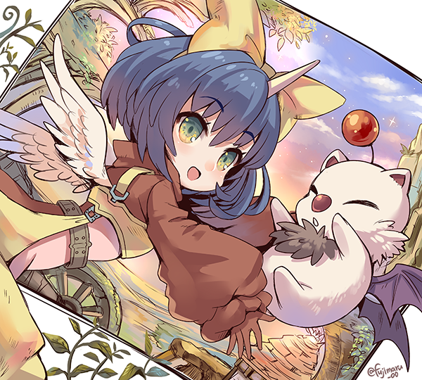 1girl :d bangs blue_hair bodysuit bodysuit_under_clothes bow eiko_carol eyebrows_visible_through_hair feathered_wings final_fantasy final_fantasy_ix fujimaru_(green_sparrow) green_eyes hair_between_eyes hair_bow horn leaf mini_wings moogle open_mouth outstretched_arms pink_bodysuit plant purple_hair short_hair smile twitter_username white_wings wings yellow_bow