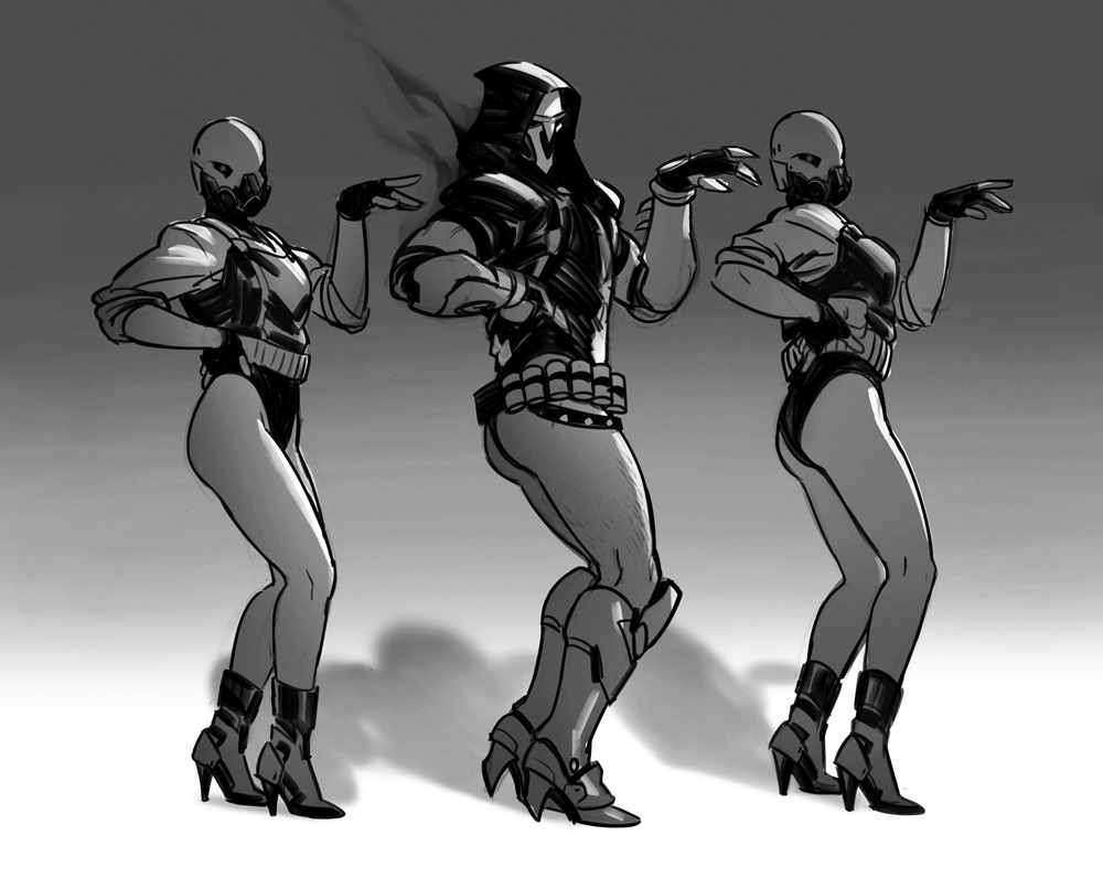 1boy 2others ass bare_legs beyonce_(copyright) boots commentary dancing english_commentary greyscale hand_on_hip high_heel_boots high_heels knee_boots legs_together leotard maren_marmulla monochrome multiple_others overwatch parody pose reaper_(overwatch) skull_mask soldier stiletto_heels what
