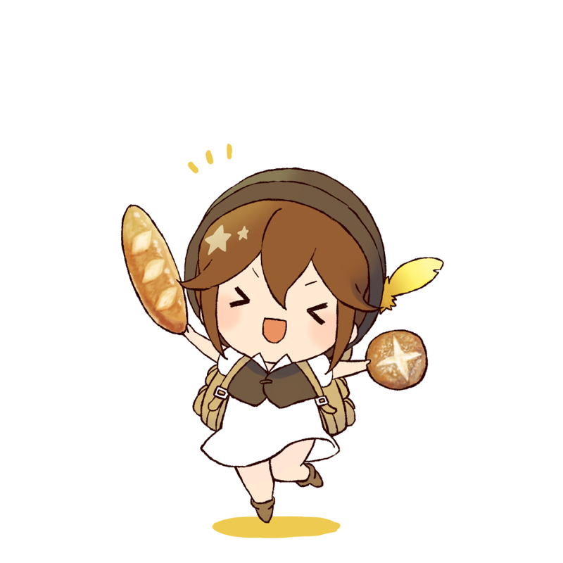1girl bread brown_hair chibi closed_eyes dress esaka food hat jewelry money octopath_traveler open_mouth short_hair simple_background smile solo tressa_(octopath_traveler) white_background