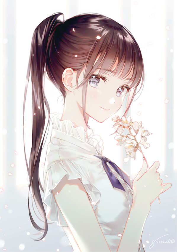 1girl blue_eyes brown_hair closed_mouth collar commentary_request dress eyebrows_visible_through_hair flower frilled_collar frills gomzi holding holding_flower light_particles long_hair looking_at_viewer original petals ponytail ruffled_sleeves short_sleeves signature smile solo upper_body white_dress white_flower