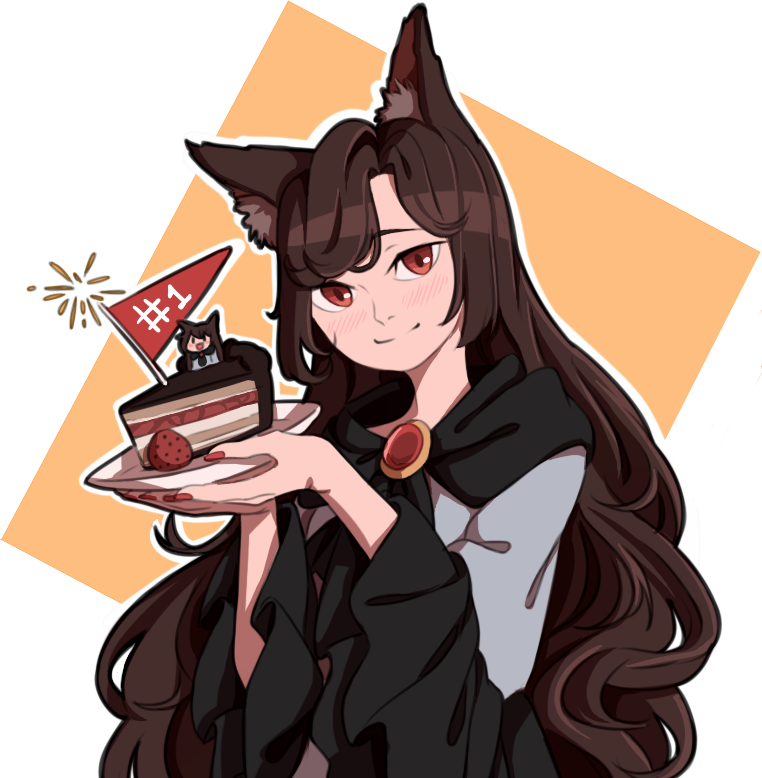 1girl animal_ears blush brooch brown_hair cake chocolate_cake dress flag food imaizumi_kagerou jewelry long_hair long_sleeves looking_at_viewer mefomefo open_mouth red_eyes simple_background skirt smile solo tail touhou werewolf wide_sleeves wolf_ears wolf_tail