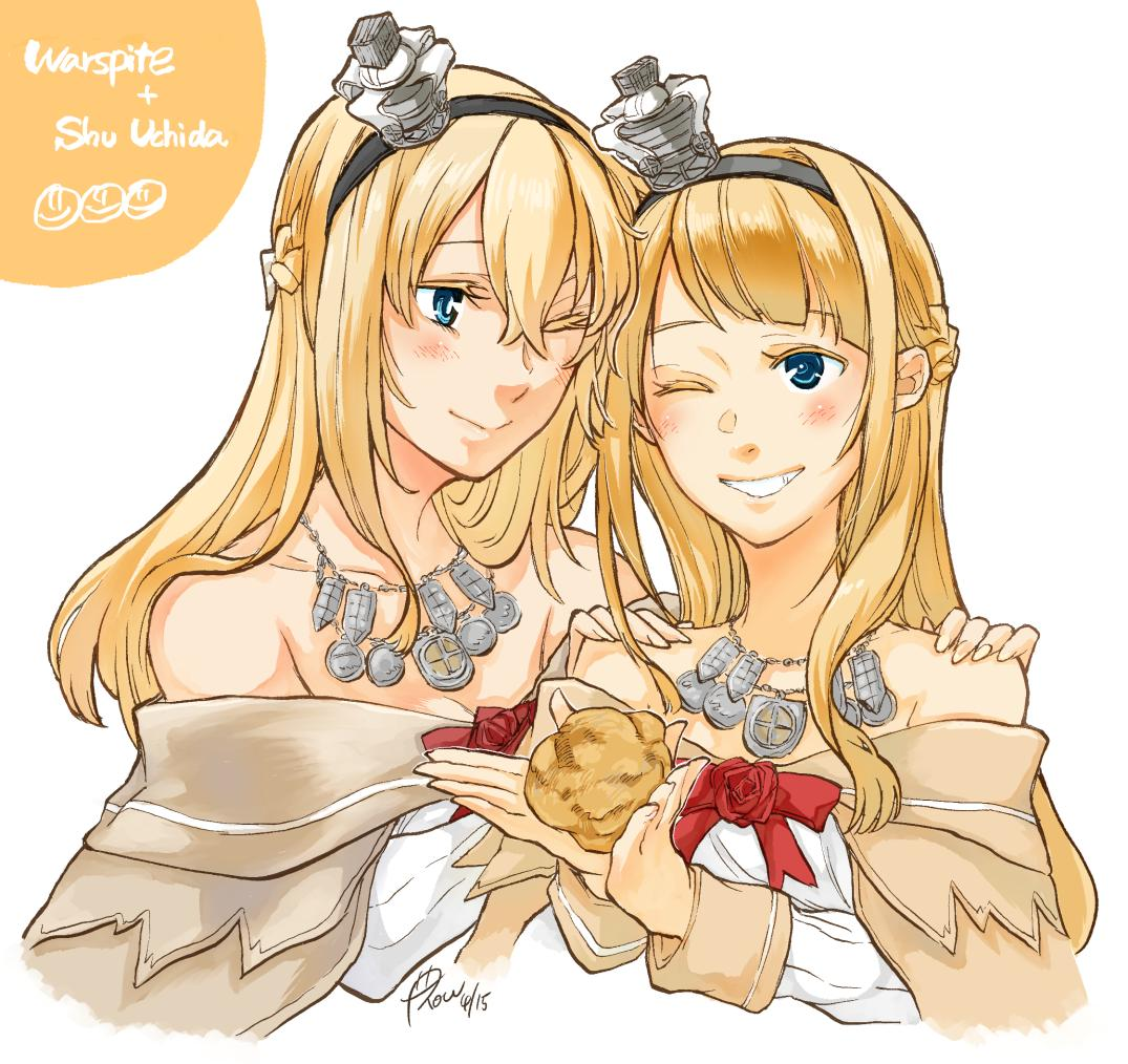 2girls bangs blonde_hair blue_eyes braid commentary_request cosplay cream_puff cropped_torso crossover crown dress flower food french_braid hairband holding holding_food jewelry kantai_collection long_hair long_sleeves mini_crown multiple_girls necklace off-shoulder_dress off_shoulder one_eye_closed real_life red_flower red_ribbon red_rose ribbon rose seiyuu_connection signature uchida_shuu warspite_(kantai_collection) warspite_(kantai_collection)_(cosplay) white_dress yamada_rei_(rou)
