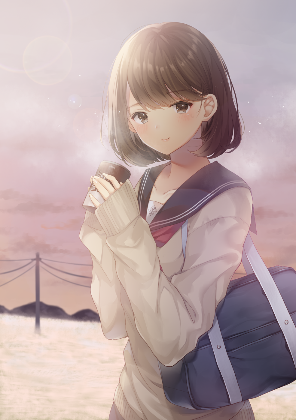 1girl bag bang black_sailor_collar blush brown_eyes brown_hair closed_mouth clouds cloudy_sky commentary_request cup day eyebrows_visible_through_hair finger_gun highres holding holding_cup long_sleeves looking_at_viewer mountainous_horizon neckerchief noda_shuha original outdoors red_neckwear sailor_collar school_bag school_uniform serafuku short_hair sky sleeves_past_wrists smile solo steam telephone_pole upper_body