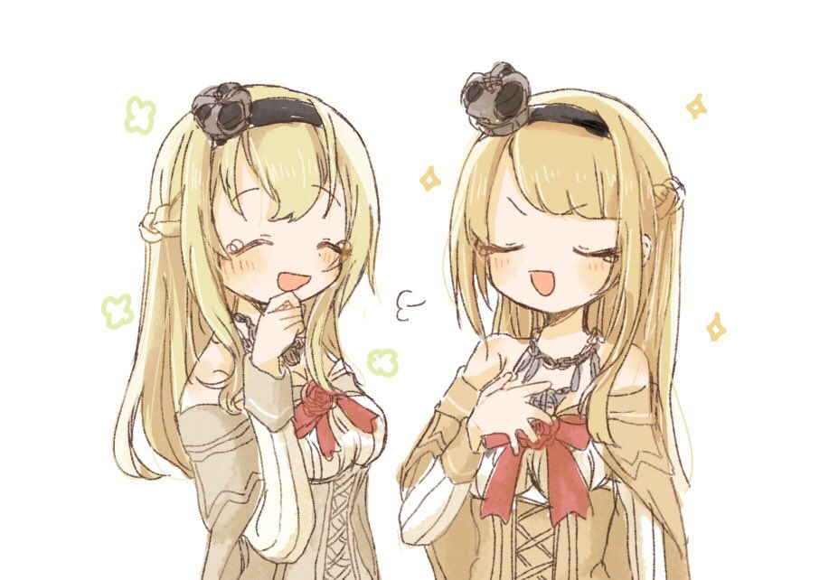 2girls :d artist_request bangs blonde_hair blush braid breasts closed_eyes corset cosplay crown dress eyebrows_visible_through_hair flower french_braid hair_ornament hair_over_shoulder hairband hand_on_own_chest jewelry kantai_collection laughing long_hair long_sleeves mini_crown multiple_girls necklace off-shoulder_dress off_shoulder open_mouth red_flower red_ribbon red_rose ribbon rose seiyuu_connection simple_background smile sparkle tears uchida_shuu upper_body warspite_(kantai_collection) warspite_(kantai_collection)_(cosplay) white_background white_dress