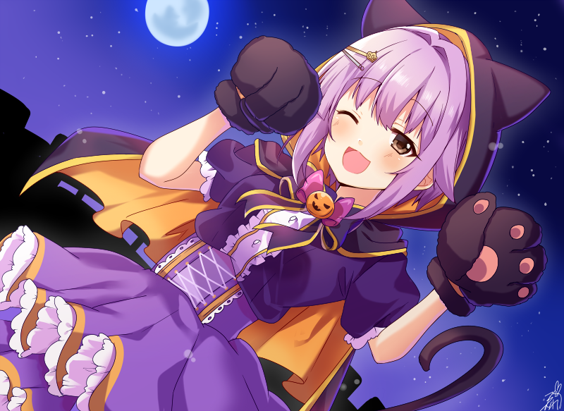 1girl ;d animal_ears animal_hood bangs black_bow black_cape black_gloves blush bow brown_eyes cape cat_ears cat_hood center_frills corset dutch_angle eyebrows_visible_through_hair fake_animal_ears frills full_moon gloves hair_between_eyes hair_flaps hair_intakes hair_ornament hairclip hands_up hood hood_up hooded_cape idolmaster idolmaster_cinderella_girls jack-o'-lantern koshimizu_sachiko moon multicolored multicolored_cape multicolored_clothes night night_sky omuretsu one_eye_closed open_mouth orange_cape outdoors paw_gloves paws pink_bow pleated_skirt puffy_short_sleeves puffy_sleeves purple_hair purple_shirt purple_skirt shirt short_sleeves signature skirt sky smile solo star_(sky) starry_sky