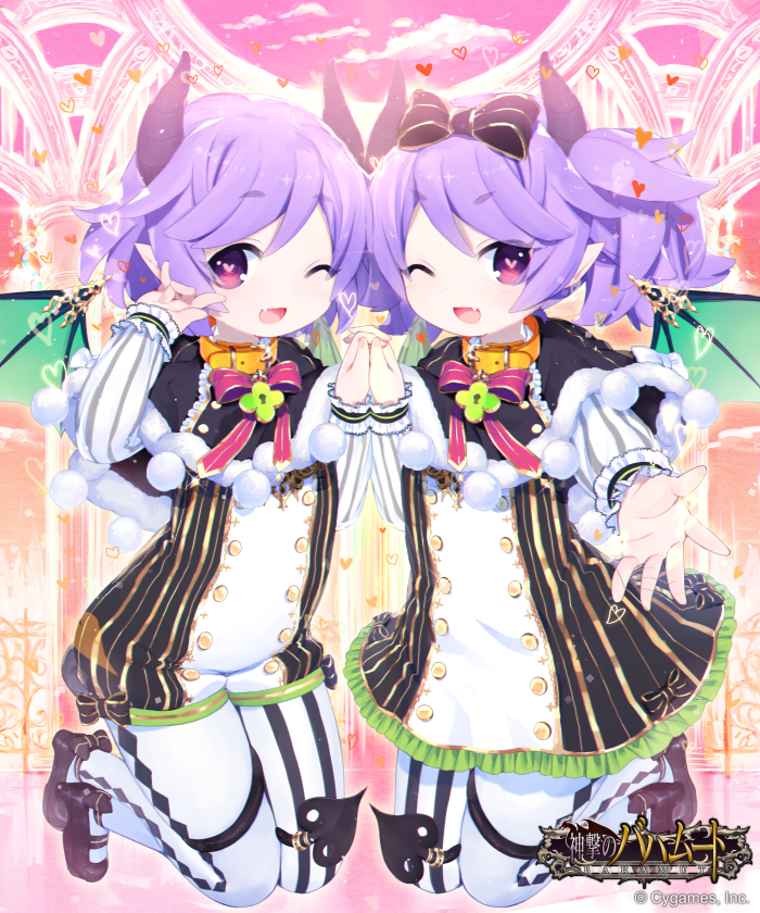 2boys ;d ankle_bow ankle_ribbon bangs between_legs black_bow black_capelet black_footwear black_tail bow capelet clouds cloudy_sky commentary_request company_name copyright_name cygames day demon_boy demon_horns demon_tail demon_wings dot_nose double-breasted flat_chest frilled_sleeves frills full_body fur-trimmed_capelet fur_trim gold_trim green_wings hand_holding heart heart-shaped_lock heart-shaped_pupils horns interlocked_fingers jumping lavender_hair legs legs_together light_blush logo looking_at_viewer male_focus matching_outfit multiple_boys official_art one_eye_closed open_mouth orange_collar pantyhose pastel_colors pink_eyes pink_sky pointy_ears raised_eyebrows reaching_out ribbon shingeki_no_bahamut short_hair sky smile striped symbol-shaped_pupils symmetry tail tail_between_legs tail_ring take_your_pick thick_eyebrows trap v-shaped_eyebrows vertical_stripes watermark waving white_legwear wings yuuhi_homare