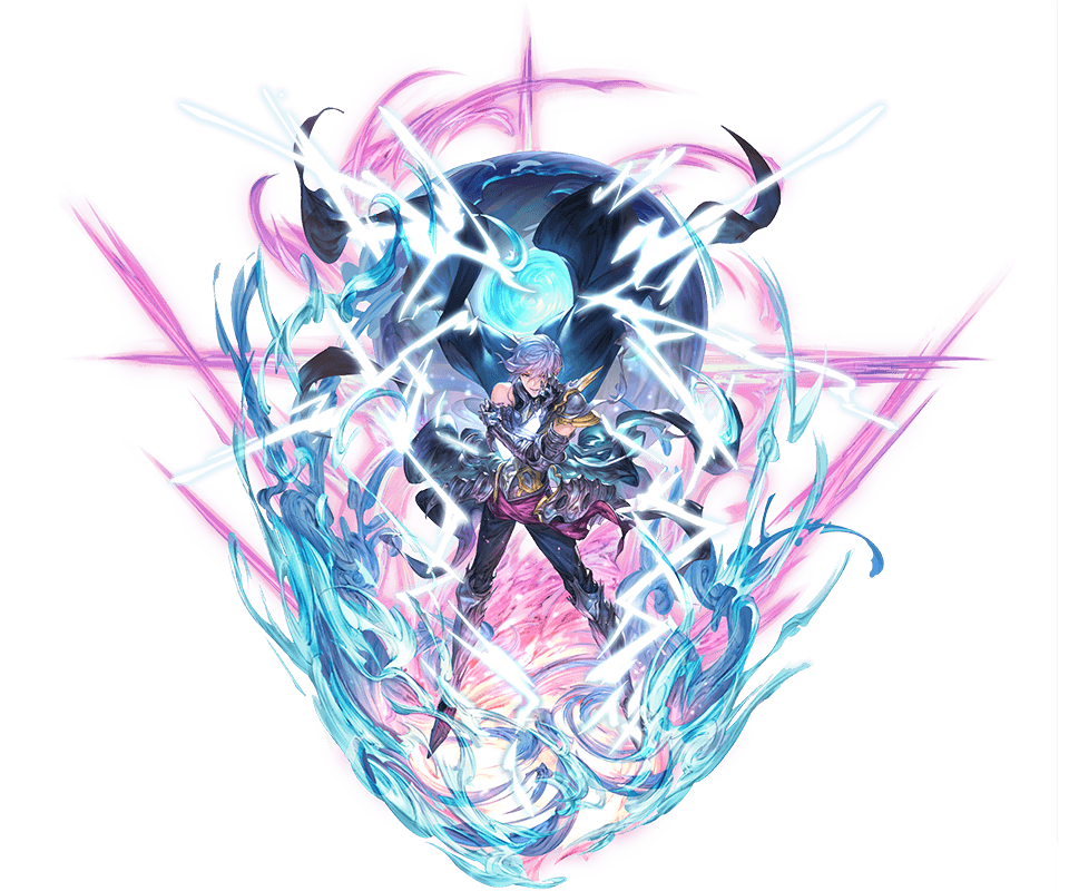 1boy armor blue_eyes boots cape gauntlets granblue_fantasy grimnir hand_on_own_arm hand_on_own_face heterochromia lightning minaba_hideo official_art pants pointy_ears red_eyes shoulder_armor silver_hair smile wind