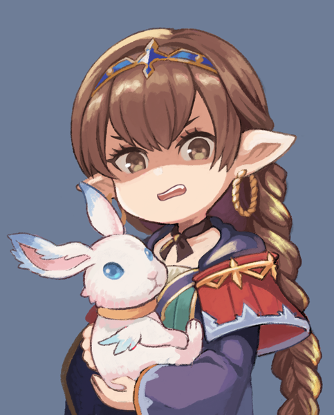 1girl botamochi_(exwelder) braid braided_ponytail brown_eyes brown_hair disgust earrings granblue_fantasy haaselila hair_between_eyes harvin jewelry looking_at_viewer pointy_ears rabbit robe shaded_face tiara