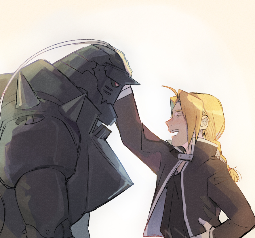 2boys :d ^_^ ahoge alphonse_elric armor bangs beige_background black_jacket black_shirt blonde_hair braid brothers closed_eyes closed_eyes edward_elric esu_(825098897) fullmetal_alchemist hand_on_hip helmet jacket leaning leaning_forward male_focus multiple_boys open_mouth outstretched_arm petting profile shirt siblings simple_background smile upper_body