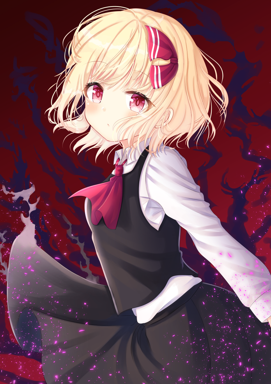 1girl :/ bangs black_skirt black_vest blonde_hair breasts cowboy_shot cravat darkness eyebrows_visible_through_hair from_side hair_ribbon head_tilt highres light_blush light_particles long_sleeves looking_at_viewer nibosisuzu red_background red_eyes red_neckwear ribbon rumia shirt short_hair skirt small_breasts solo standing touhou vest white_shirt wind wind_lift