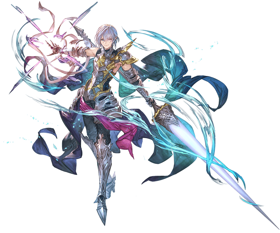 1boy armor blue_eyes boots cape gauntlets granblue_fantasy grimnir heterochromia lance minaba_hideo official_art pointy_ears polearm red_eyes shoulder_armor silver_hair smile weapon wind