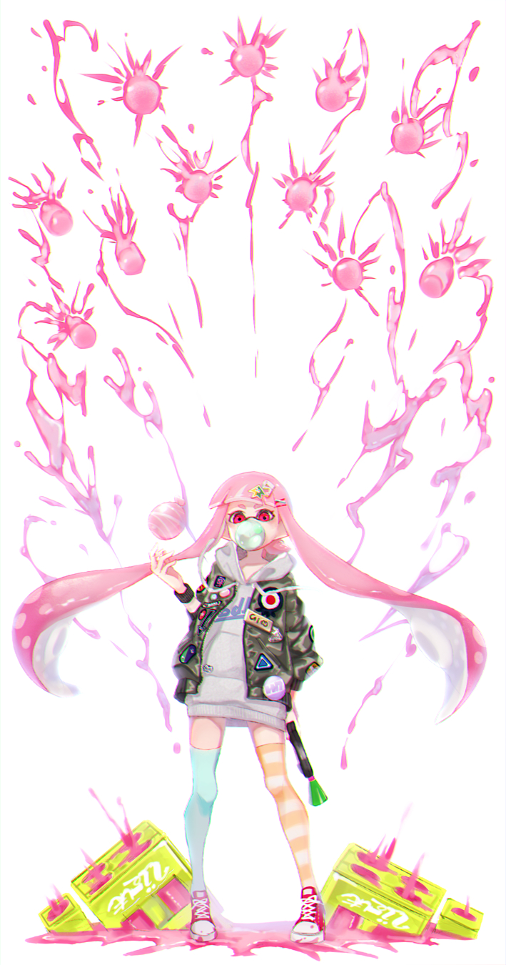1girl action badge bangs blunt_bangs bubble_blowing burst_bomb_(splatoon) chewing_gum commentary cross-laced_footwear domino_mask drawstring dress green_legwear grey_background grey_sweater hair_ornament highres holding hood hoodie inkling jacket long_sleeves looking_at_viewer mask mimimi_(echonolog) mismatched_legwear open_clothes open_jacket paint_splatter pink_eyes pink_footwear pink_hair pointy_ears shoes sneakers solo splat_dualies_(splatoon) splatoon splatoon_(series) splatoon_2 squid standing striped striped_legwear sweater sweater_dress tenta_missiles_(splatoon) tentacle_hair white_background yellow_legwear