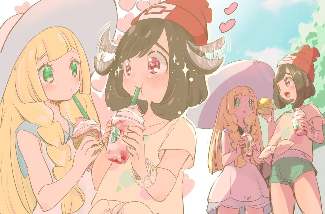 2girls beanie black_hair blonde_hair blue_sky braid chorimokki clouds creatures_(company) day dress drinking drinking_straw game_freak green_eyes green_shorts hat heart holding lillie_(pokemon) long_hair malasada mizuki_(pokemon) multiple_girls nintendo pokemon pokemon_(game) pokemon_sm red_headwear shirt short_hair short_sleeves shorts sky sleeveless sleeveless_dress sun_hat tied_shirt twin_braids white_dress white_headwear z-ring