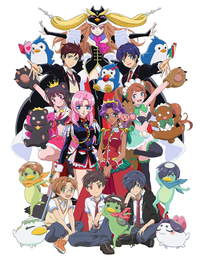 5boys 5girls :d animal_ears apple artist_request bear bear_ears bear_paws bird black_hair black_legwear blazer blue_eyes blue_hair book boots bow breasts brown_hair chu_chu_(shoujo_kakumei_utena) cleavage creator_connection crossover crown dark_skin dual_persona epaulettes fang food fruit glasses gloves green_eyes hair_over_one_eye hat himemiya_anthy jacket jinai_enta kappa keppi kuji_toi maid_headdress mawaru_penguindrum medium_breasts monkey multiple_boys multiple_crossover multiple_girls necktie official_art open_mouth pants paw_gloves paws penguin penguin_1-gou penguin_2-gou penguin_3-gou pink_eyes pink_hair princess_of_the_crystal purple_hair red_eyes sarazanmai school_uniform shorts shoujo_kakumei_utena showgirl_skirt sitting skirt smile standing standing_on_one_leg sweater_vest sword takakura_himari takakura_kanba takakura_shouma tenjou_utena thigh-highs thigh_boots twintails weapon yasaka_kazuki yuri_kuma_arashi yurigasaki_lulu yurishiro_ginko