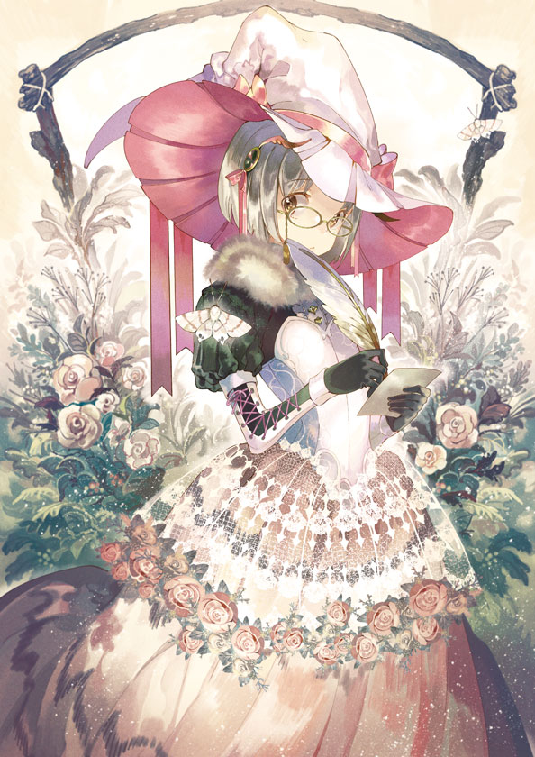 1girl black_gloves bob_cut brown_eyes bug commentary_request cross-laced_clothes dress expressionless feathers flower fur_collar glasses gloves hair_ornament hat holding holding_paper holding_quill insect juliet_sleeves lace long_sleeves looking_at_viewer moth noki_(affabile) original paper pink_flower pink_rose puffy_sleeves quill rose short_hair silver_hair solo standing white_headwear witch_hat