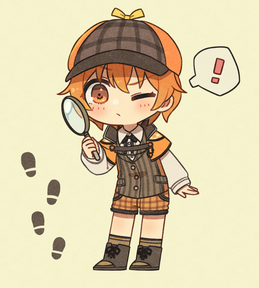 ! 1girl bang_dream! bd_ayknn beige_background black_footwear black_neckwear black_vest blush boots brown_legwear brown_shorts collared_shirt deerstalker detective footprints full_body hat holding_magnifying_glass kitazawa_hagumi long_sleeves magnifying_glass neck_ribbon one_eye_closed orange_capelet orange_eyes orange_hair plaid plaid_shorts ribbon shirt short_hair shorts socks solo spoken_exclamation_mark vertical-striped_vest vest white_shirt