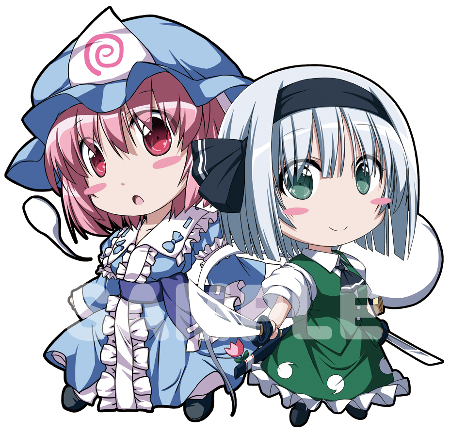 2girls arm_garter ascot bangs black_footwear black_hairband black_neckwear black_ribbon blue_bow blue_dress blue_headwear blue_sash blush_stickers bow breasts center_frills chibi collarbone commentary_request dress eyebrows_visible_through_hair frilled_shirt_collar frills full_body green_eyes green_skirt green_vest hair_between_eyes hair_ribbon hairband hat hitodama holding holding_sword holding_weapon juliet_sleeves katana konpaku_youmu konpaku_youmu_(ghost) long_sleeves looking_at_viewer mob_cap multiple_girls nori_tamago open_mouth petticoat pink_hair puffy_short_sleeves puffy_sleeves red_eyes ribbon ribbon-trimmed_collar ribbon_trim saigyouji_yuyuko sample sash shirt shoes short_hair short_sleeves silver_hair simple_background skirt skirt_set small_breasts smile standing sword touhou triangular_headpiece veil vest watermark weapon white_background white_shirt wide_sleeves