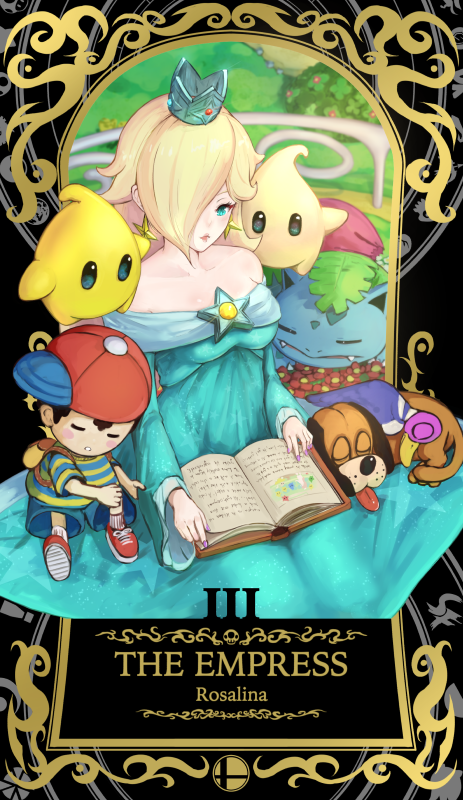 1boy 1girl 5others ape_(company) bare_shoulders bird blonde_hair blue_eyes blush book chiko_(mario) child creatures_(company) crown dinosaur dog dog_(duck_hunt) dress duck duck_(duck_hunt) duck_hunt duck_hunt_duo earrings game_freak gen_1_pokemon hair_over_one_eye hal_laboratory_inc. hat ippers ivysaur jewelry long_hair mario_(series) mother_(game) mother_2 ness nintendo nintendo_ead pokemon pokemon_(creature) pokemon_(game) princess rosalina rosetta_(mario) seed_(pokemon) sleeping smile sora_(company) star super_mario_galaxy super_smash_bros. super_smash_bros_for_wii_u_and_3ds wand