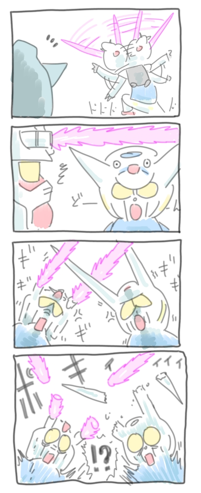 4koma beam_saber comic commentary_request energy_sword g-self gundam gundam_g_no_reconguista mecha mobile_suit_gundam niiyan rx-78-2 sword translation_request weapon yellow_eyes
