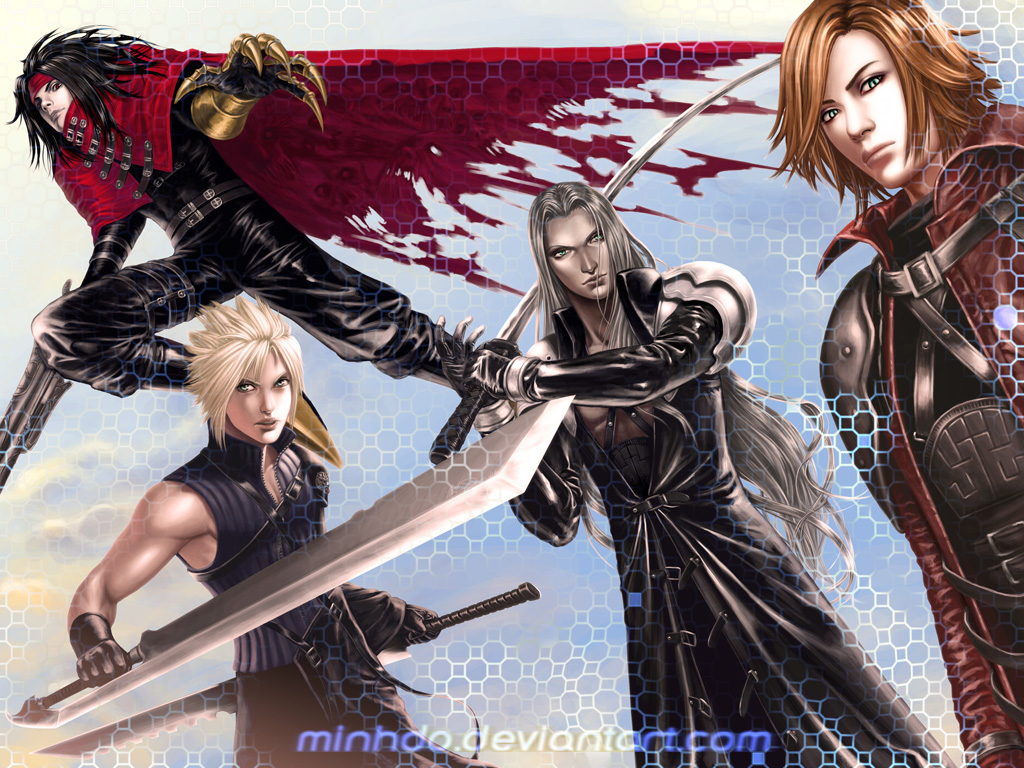 armor black_hair blonde_hair cape claws cloak cloud_strife crisis_core_final_fantasy_vii dirge_of_cerberus_final_fantasy_vii dual_wielding final_fantasy final_fantasy_vii final_fantasy_vii_advent_children genesis_rhapsodos gloves green_eyes gun headband long_hair mako_eyes male minh_do multiple_boys open_mouth orange_hair realistic red_eyes sephiroth short_hair silver_hair sword vincent_valentine weapon