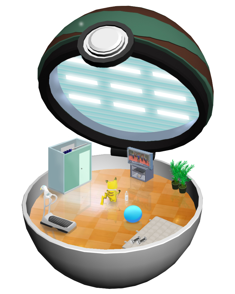 ball bottle creatures_(company) exercise exercise_ball game_freak gen_1_pokemon nest_ball nintendo open_poke_ball pikachu plant poke_ball pokemon potted_plant ruun_(abcdeffff) television towel towel_around_neck treadmill water_bottle weights