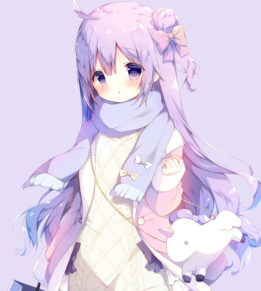 1girl :o animal_bag azur_lane bag bangs blue_scarf blush bow coat commentary_request dress eyebrows_visible_through_hair fringe_trim hair_between_eyes hair_bow hand_up head_tilt long_hair long_sleeves one_side_up open_clothes open_coat parted_lips pink_bow pink_coat purple_background purple_hair scarf shiratama_(shiratamaco) shoulder_bag sidelocks sleeves_past_wrists solo unicorn_(azur_lane) very_long_hair violet_eyes white_bow white_dress yellow_bow