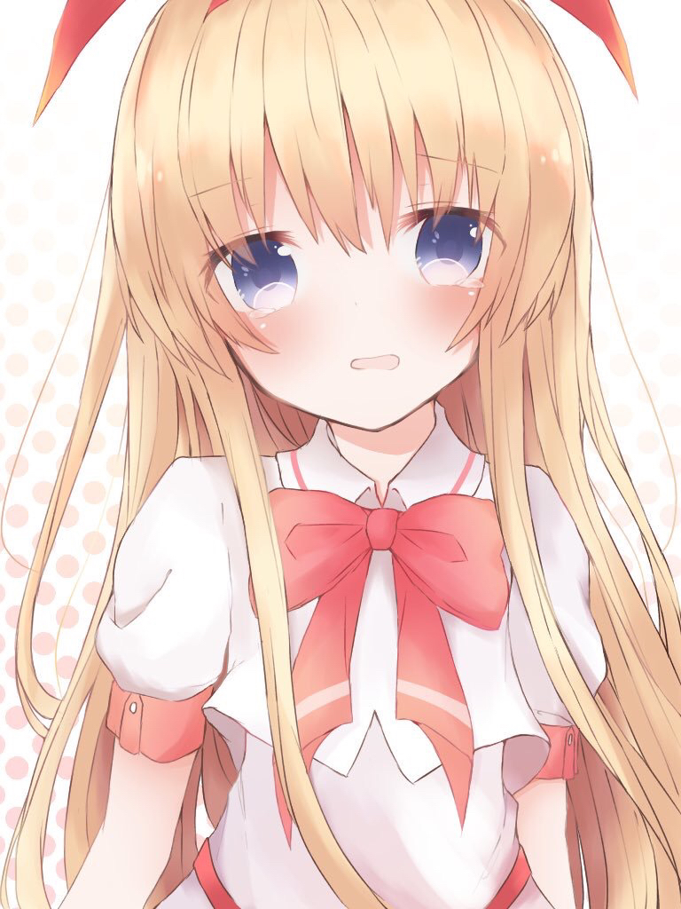 1girl amae_koromo blonde_hair blue_eyes blush bow bowtie commentary_request eyebrows_visible_through_hair face flat_chest hair_between_eyes hair_ornament hairband hayu_o0 long_hair looking_at_viewer open_mouth red_hairband red_neckwear saki shirt solo tearing_up upper_body white_shirt