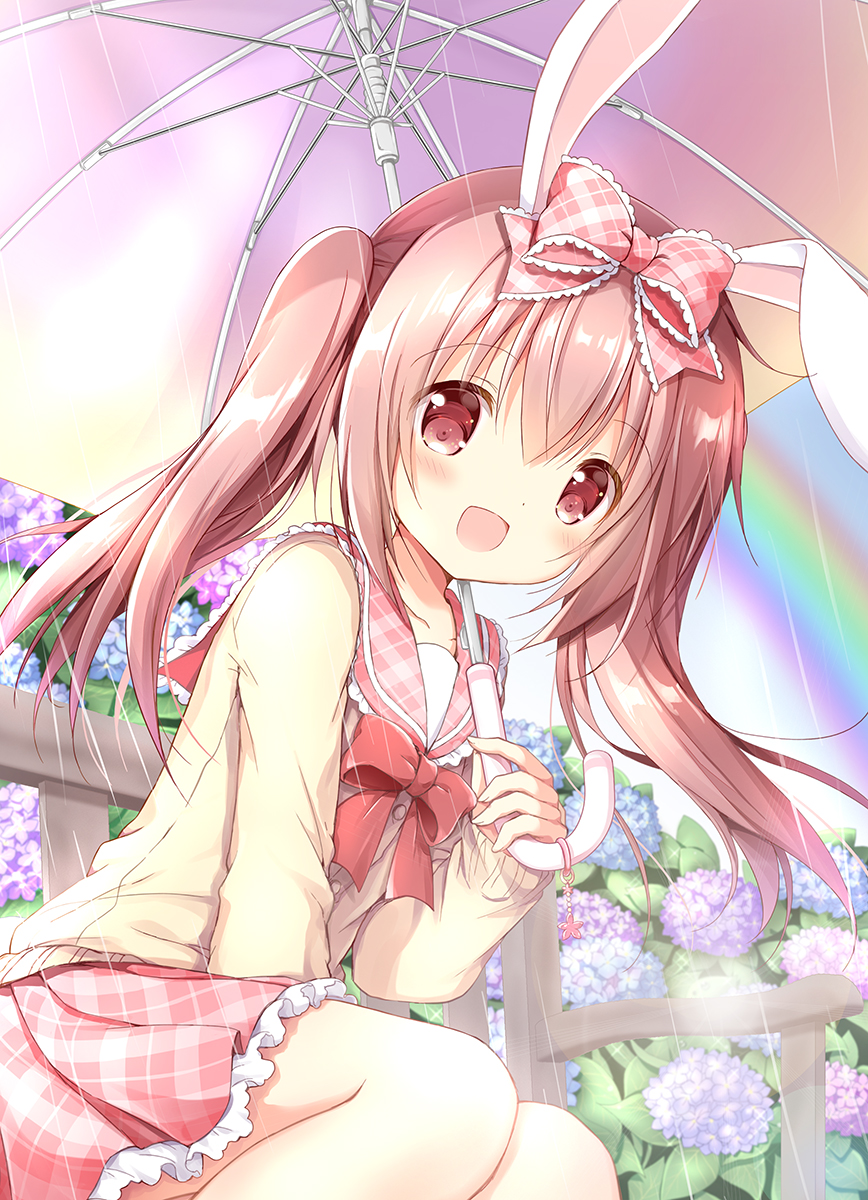 1girl :d animal_ears blue_flower bow brown_cardigan brown_hair cardigan commentary_request day feet_out_of_frame flower hair_bow highres holding holding_umbrella hydrangea long_hair long_sleeves looking_at_viewer nanase_miori on_bench open_mouth original outdoors pink_bow pink_flower pink_sailor_collar pink_skirt plaid plaid_bow plaid_sailor_collar plaid_skirt pleated_skirt purple_flower rabbit_ears rain rainbow red_bow red_eyes sailor_collar school_uniform serafuku sitting skirt sleeves_past_wrists smile solo twintails umbrella