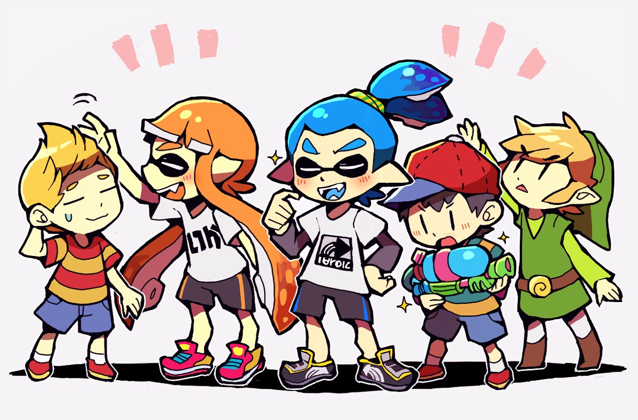 1girl bangs baseball_cap bike_shorts black_hair black_shorts blonde_hair blue_eyes blunt_bangs brown_hair closed_eyes domino_mask fang fangs hat ink_tank_(splatoon) inkling link long_hair lucas mask mother_(game) mother_2 mother_3 multiple_boys ness nintendo pointy_ears short_hair shorts smile splatoon splatoon_(series) splatoon_1 splattershot_(splatoon) squid striped super_smash_bros. teijiro tentacle_hair the_legend_of_zelda the_legend_of_zelda:_the_wind_waker toon_link topknot