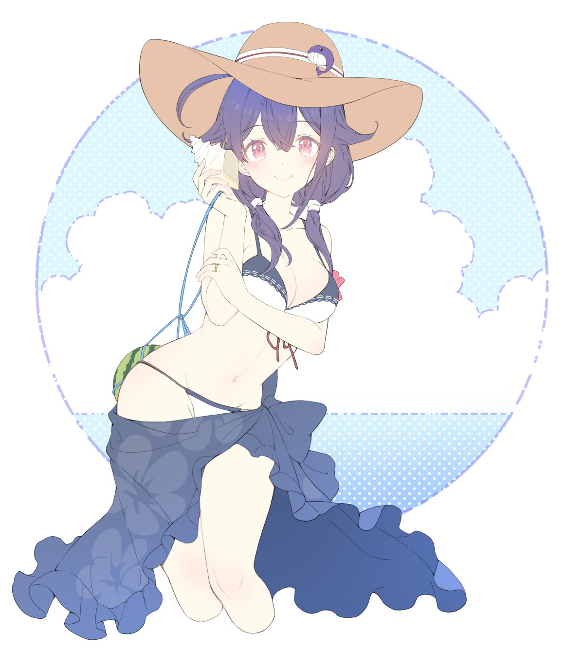 1girl ahoge bikini breasts cleavage cowboy_shot food fruit hat highres holding_shell kantai_collection large_breasts looking_at_viewer low_twintails purple_hair red_eyes seashell shell shiosoda smile solo straw_hat swimsuit taigei_(kantai_collection) twintails watermelon white_bikini
