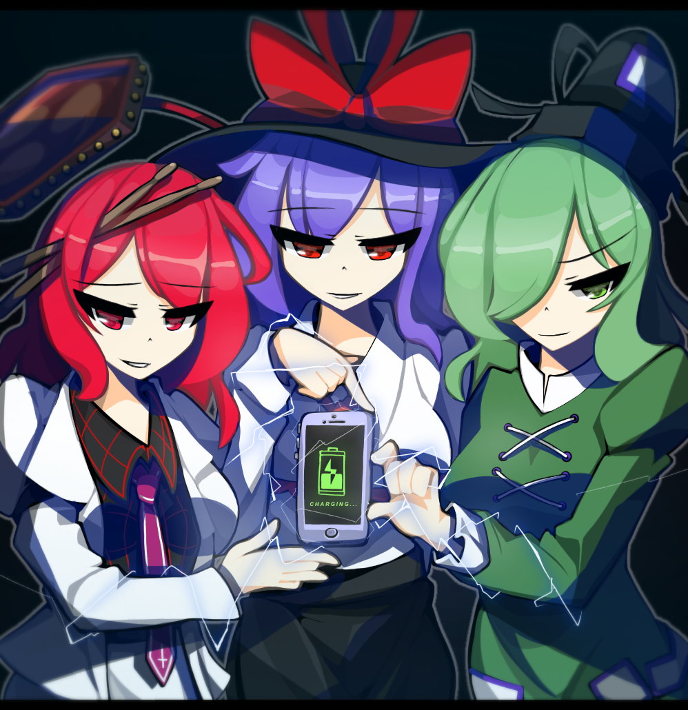3girls battery battery_indicator blazer cellphone charging collared_shirt cross-laced_clothes dot_nose dress drum drumsticks electricity english_text eyebrows_visible_through_hair green_dress green_eyes green_hair hat hat_ribbon horikawa_raiko instrument jacket kaliningradg layered_sleeves long_sleeves looking_at_viewer medium_hair multiple_girls nagae_iku necktie phone purple_hair red_eyes redhead ribbon shirt smartphone smile soga_no_tojiko suit_jacket tate_eboshi touhou trait_connection