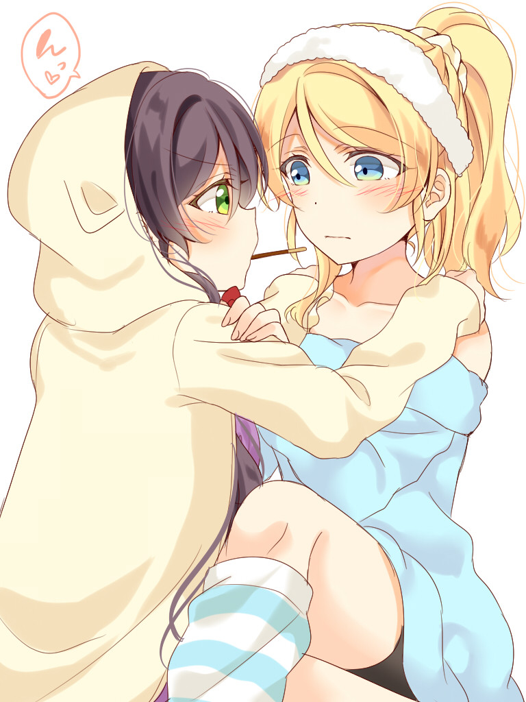 2girls animal_hood ayase_eli bangs blonde_hair blue_eyes blush cat_hood collarbone commentary_request food frown green_eyes hair_between_eyes hair_ornament hair_scrunchie hairband hands_on_another's_shoulders hood hood_up long_hair looking_at_another loose_socks love_live! love_live!_school_idol_project mogu_(au1127) mouth_hold multiple_girls off_shoulder pocky pocky_kiss ponytail scrunchie shared_food sidelocks simple_background sitting sitting_on_lap sitting_on_person striped striped_legwear toujou_nozomi v-shaped_eyebrows violet_eyes white_background white_scrunchie yellow_hoodie yuri