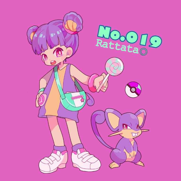 1girl bag bangs blunt_bangs candy character_name creature_and_personification creatures_(company) double_bun dress food full_body game_freak gen_1_pokemon lollipop looking_at_viewer mameeekueya nintendo number open_mouth personification poke_ball poke_ball_(generic) pokemon pokemon_(creature) pokemon_number purple_background purple_hair rattata shoes shoulder_bag simple_background sleeveless sleeveless_dress socks standing white_footwear