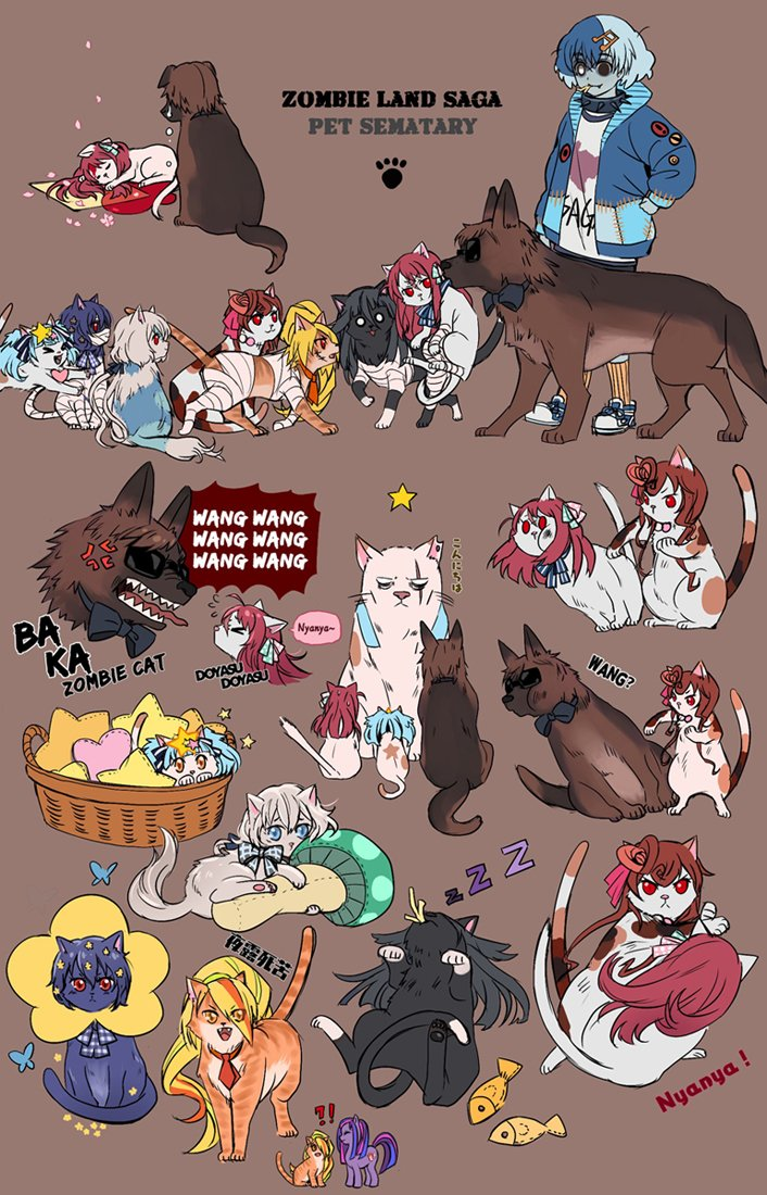 ahoge anger_vein animalization bandage basket blood bow bowtie brown_background cat cherry_blossoms collar dog english_text fish flower gou_takeo hoshikawa_lily kirishima_reiko_(zombie_land_saga) konno_junko look-alike minamoto_sakura missing_eye mizuno_ai mushroom my_little_pony nikaidou_saki personification pony ranguage rhubarb romero_(zombie_land_saga) scar slapping sleeping spiked_collar spikes sunglasses tatsumi_koutarou yuugiri_(zombie_land_saga) zombie_land_saga zzz