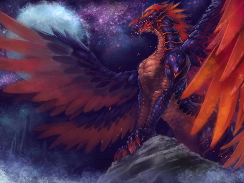 der_vasa_rau dragon edobox full_moon moon night night_sky no_humans outdoors pixiv_fantasia pixiv_fantasia_last_saga red_eyes sky
