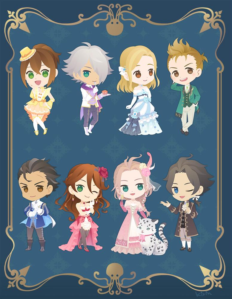 alfyn_(octopath_traveler) bangs bare_shoulders black_hair blonde_hair blush bracelet brown_hair chibi cyrus_(octopath_traveler) dancer dress food formal fromal gloves green_eyes h'aanit_(octopath_traveler) hair_over_one_eye hat jewelry kina_kirin linde_(octopath_traveler) long_hair looking_at_viewer multiple_boys multiple_girls necklace octopath_traveler olberic_eisenberg one_eye_closed open_mouth ophilia_(octopath_traveler) ponytail primrose_azelhart short_hair simple_background smile suit therion_(octopath_traveler) thigh-highs tressa_(octopath_traveler)