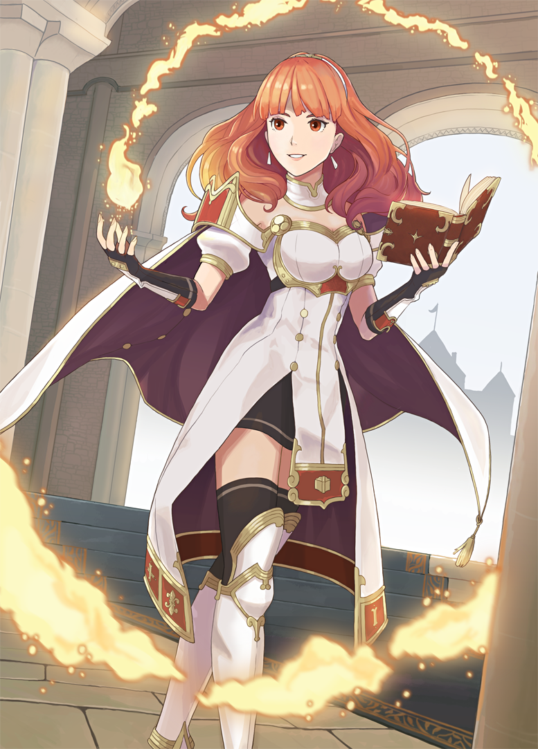 1girl arch black_legwear book boots breasts cape celica_(fire_emblem) detached_collar dress earrings finalsmashcomic fingerless_gloves fire fire_emblem fire_emblem_echoes:_mou_hitori_no_eiyuuou fire_emblem_gaiden gloves holding holding_book indoors intelligent_systems jewelry long_hair looking_at_viewer medium_breasts nintendo open_book red_eyes redhead short_sleeves smile solo weapon white_cape white_footwear yayster