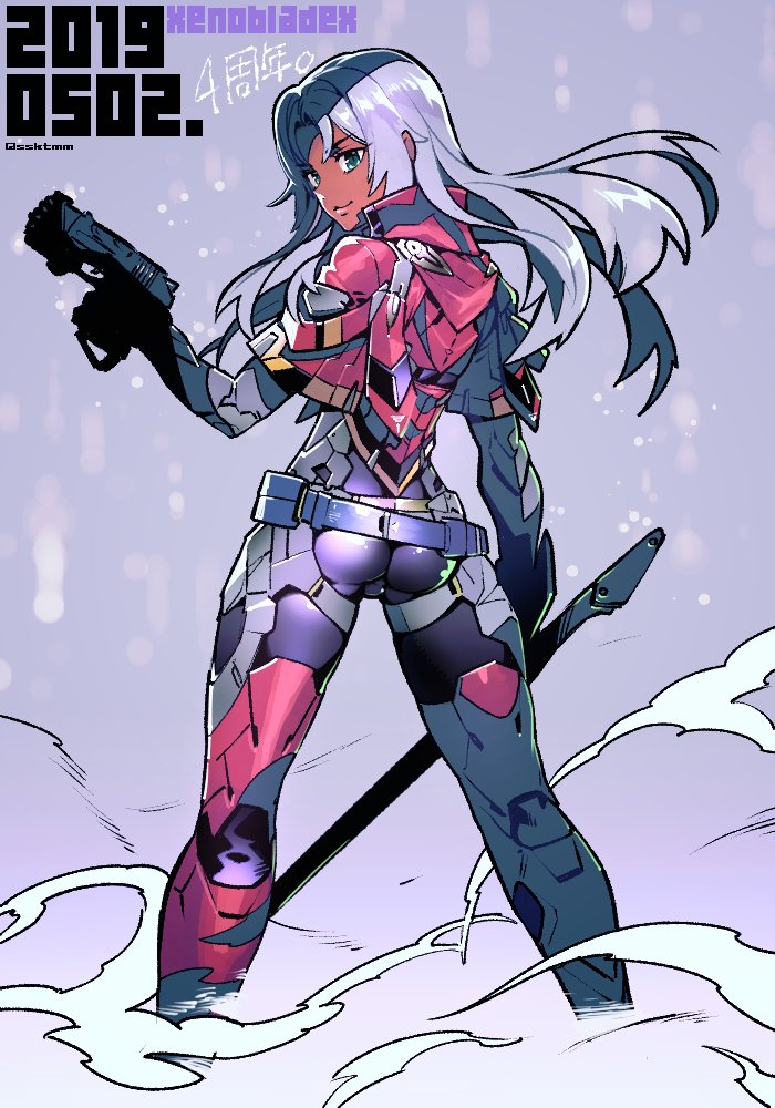 1girl armor ass blue_eyes bodysuit boots breasts dark_skin elma_(xenoblade_x) fujimoto_hideaki full_body gloves hair_ornament long_hair looking_at_viewer nintendo simple_background smile solo sword weapon white_hair xenoblade_(series) xenoblade_chronicles_x