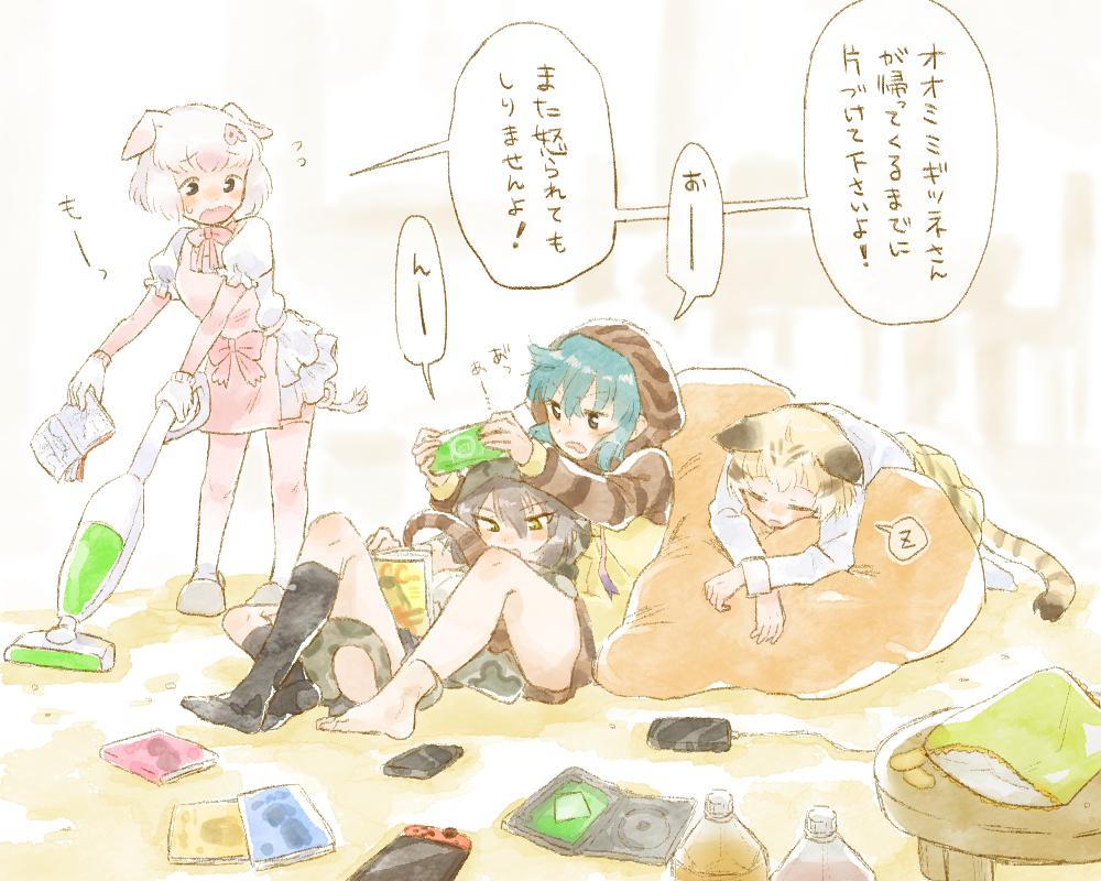 4girls adapted_costume animal_ears animal_print apron barefoot bean_bag_chair black_legwear blonde_hair blue_hair blush book bow bowtie cat_ears cat_print cat_tail chips cleaning comic commentary_request elbow_gloves eyebrows_visible_through_hair flying_sweatdrops food frilled_skirt frills gloves grey_hair habu_(kemono_friends) handheld_game_console hood kemono_friends long_sleeves lying lying_on_person messy moeki_(moeki0329) multicolored_hair multiple_girls nintendo_switch on_stomach open_mouth pig_(kemono_friends) pig_ears pig_tail pink_hair pink_legwear playstation_portable print_skirt puffy_short_sleeves puffy_sleeves reading sand_cat_(kemono_friends) short_hair short_sleeves sitting skirt sleeping slippers snake_print snake_tail socks standing tail thigh-highs translation_request tsuchinoko_(kemono_friends) vacuum_cleaner white_hair zettai_ryouiki zzz