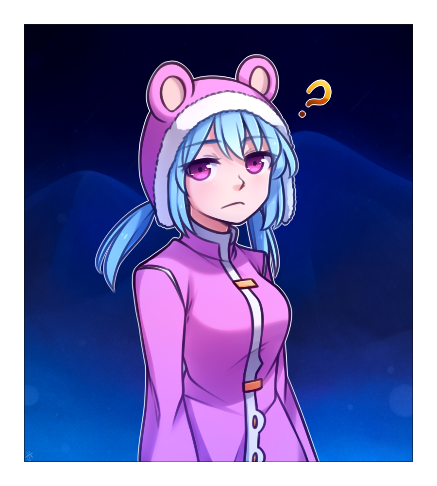 1girl :< ? animal_hood blue_hair commentary english_commentary eyebrows_visible_through_hair eyes_visible_through_hair fur-trimmed_hood hood long_hair long_sleeves looking_at_viewer low_twintails nixie_(rabi_ribi) outline pink_coat pink_eyes rabi-ribi solo speckticuls twintails upper_body white_outline