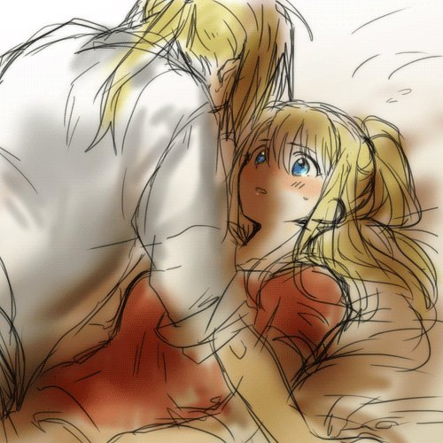 1boy 1girl arm_support bed bed_sheet blonde_hair blue_eyes blush couple edward_elric eyebrows_visible_through_hair facing_away fullmetal_alchemist hetero looking_at_another looking_up lowres nervous parted_lips pillow pink_shirt ponytail shirt sweatdrop tsukuda0310 white_shirt winry_rockbell