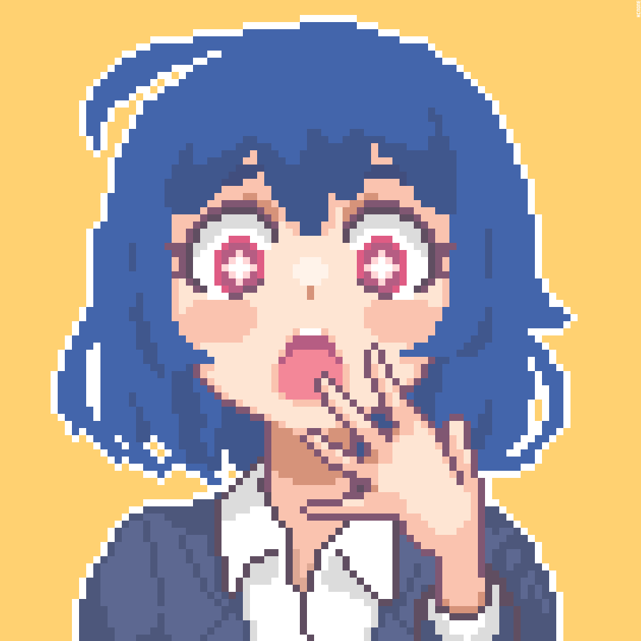 +_+ 1girl ahoge blue_hair blue_jacket collared_shirt commentary covering_mouth english_commentary gasp hand_over_own_mouth hcnone jacket open_mouth original pixel_art red_eyes shirt short_hair simple_background solo upper_body white_shirt yellow_background