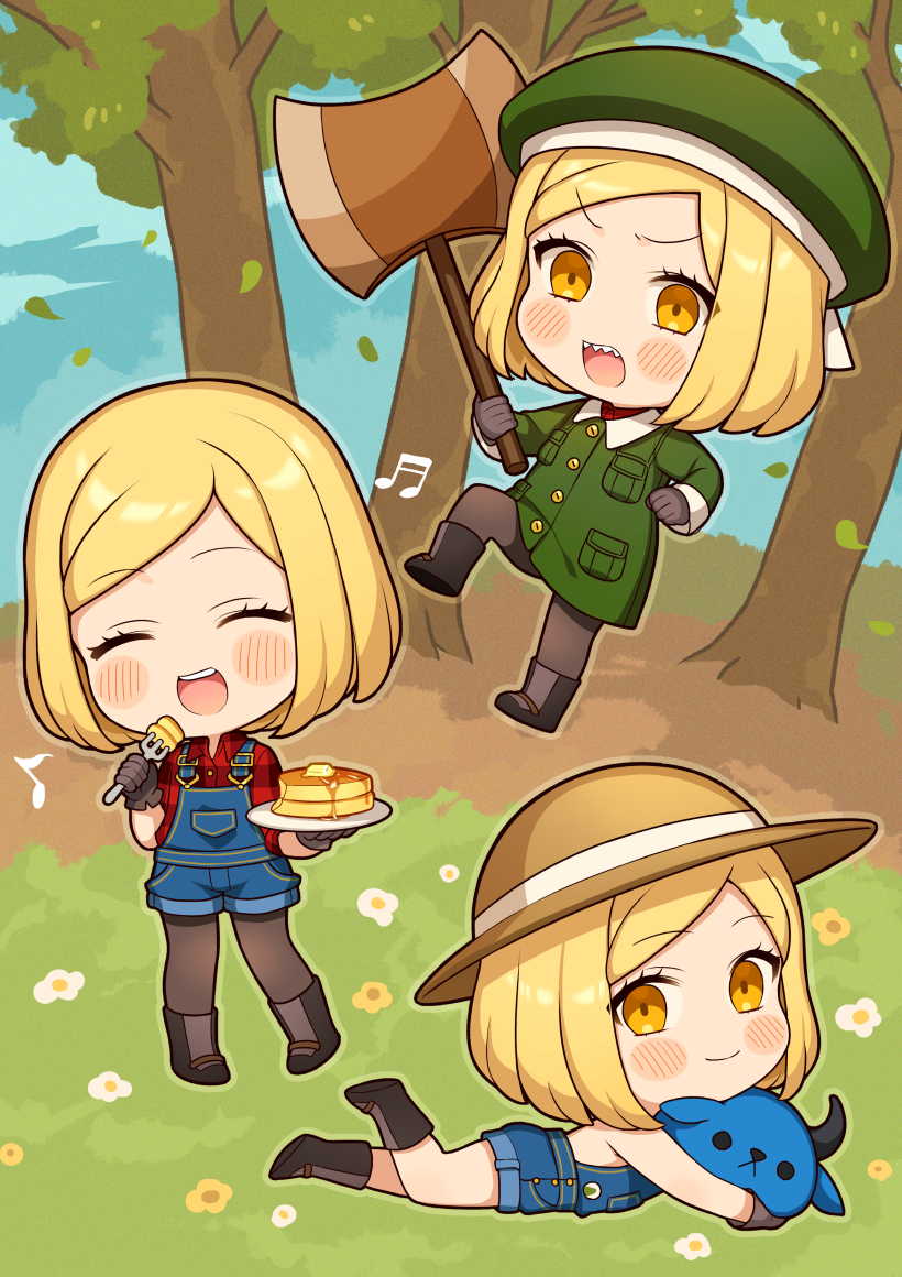 1girl :d axe babe_(fate) bangs bare_shoulders beamed_sixteenth_notes beret black_footwear blonde_hair blush_stickers boots brown_eyes brown_gloves brown_headwear brown_legwear chibi closed_mouth collared_jacket collared_shirt commentary_request eighth_note eyebrows_visible_through_hair fate/grand_order fate_(series) food fork gloves green_headwear green_jacket hat holding holding_axe holding_fork holding_plate jacket karokuchitose lying multiple_views musical_note naked_overalls on_stomach open_mouth overall_shorts overalls pancake pantyhose paul_bunyan_(fate/grand_order) plaid plaid_shirt plate red_shirt sharp_teeth shirt smile stack_of_pancakes standing standing_on_one_leg swept_bangs teeth tree v-shaped_eyebrows